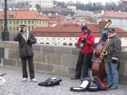Musicians on the Charles Bridge. It was early in the day and the temperatures were freezing.