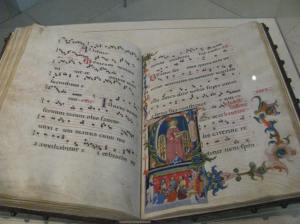 I can't buy books right now, but I can still admire them. This choir book dates back to the 1300s.