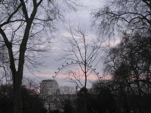 When wandering through London keep your eyes open for the familiar landmarks. Here's the London Eye, visible from The Mall, the road that leads to Buckingham Palace.