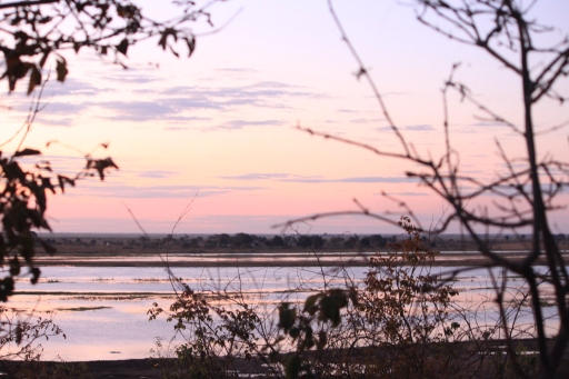 The Chobe River after sunset.