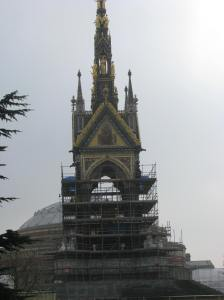 The Albert Memorial is mostly hidden by scaffolding.