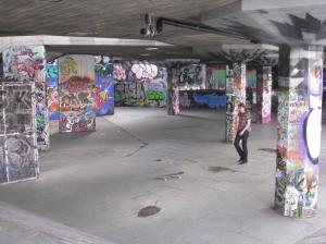 It seemed like a popular spot for skateboarders.