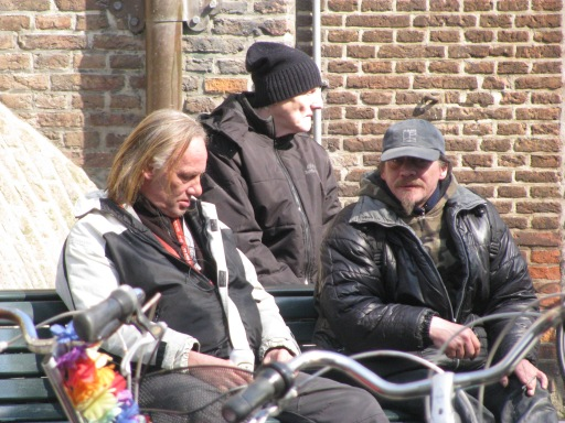 I spied these characters in Amsterdam. I tried to snap a photo without being noticed. I think I failed. I didn't stick around.
