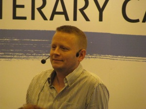 Patrick Ness, a young adult author, speaking.