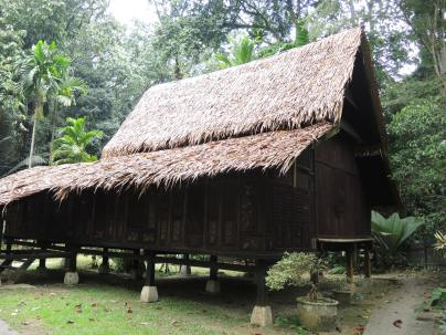 A replica of a traditional Malay house on the grounds