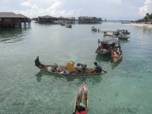 Sea gypsies off of Mabul Island, Malaysia.