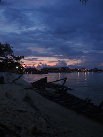 Mabul Island at sunset.