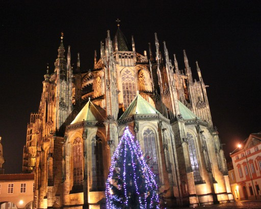 Prague Castle at night last December.