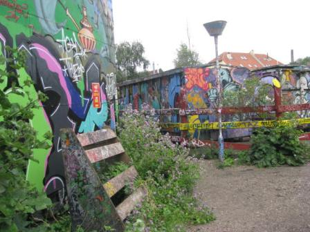 Christiania is a self-proclaimed autonomous neighborhood in Copenhagen, Denmark. Approximately 800 people reside there. If you are in the area I highly recommend visiting. I should say it wasn't the cleanest place I've ever been, but fascinating. Please note that in some areas photographs are not allowed and if you try to break the rules, the residents will say something. I was fascinated by all the artwork, including these buildings.